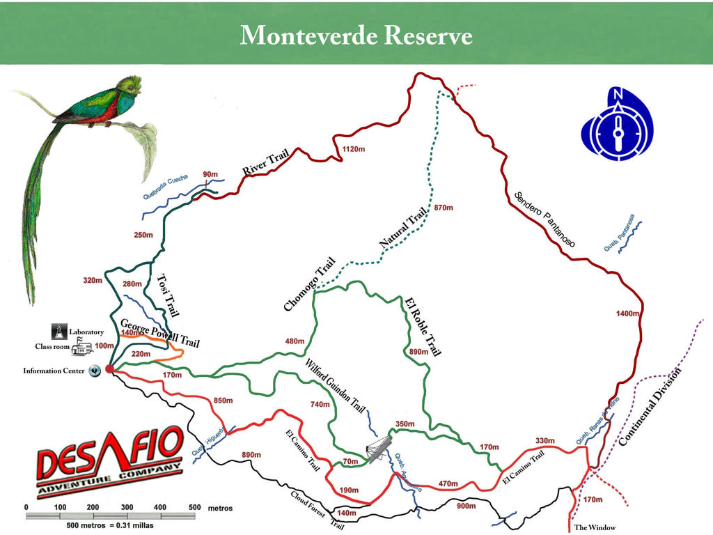 Monteverde Cloud Forest Reserve Map