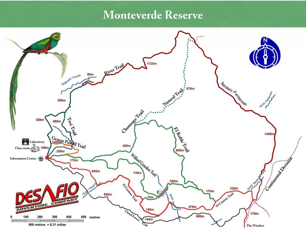 Monteverde Cloud Forest Reserve Map