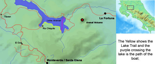This map shows the Lake Trail horseback route we use between Monteverde and Arenal Costa Rica
