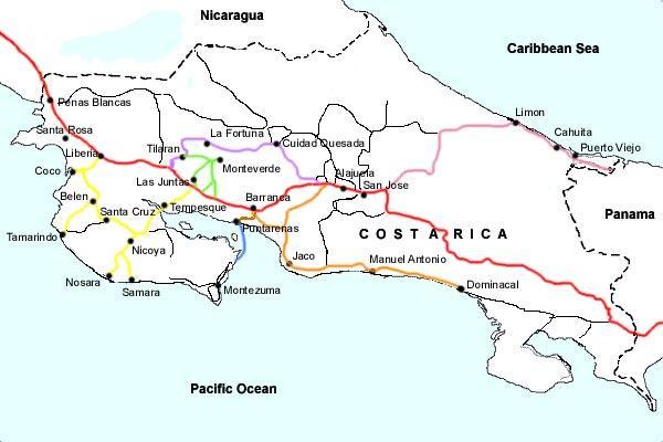 Printable costa rica map maps map usa images free map of monteverde costa rica tours printable costa rica map at prairieduchienarea sciox Choice Image