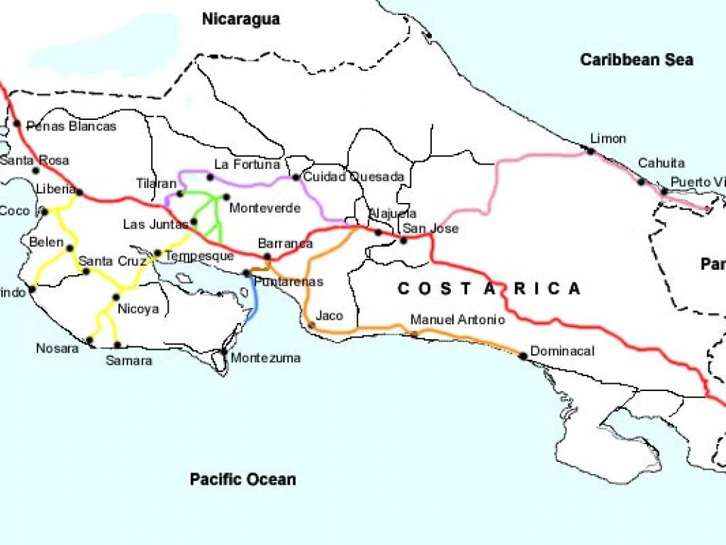 Major Cities and Roads of Costa Rica