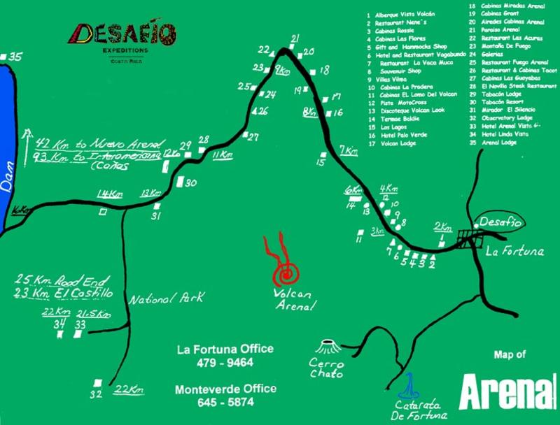 Map of the La Fortuna / Arenal Costa Rica area