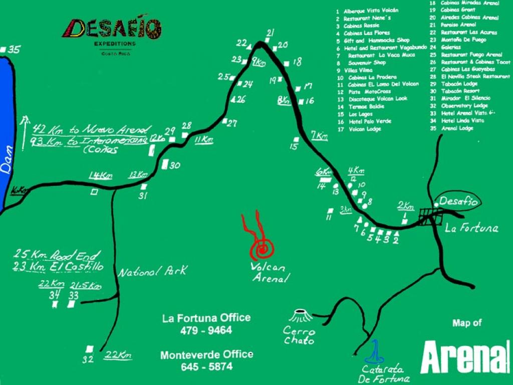 Map of the La Fortuna / Arenal Costa Rica area