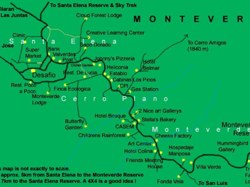 Map of the Monteverde Costa Rica area. Shows Santa Elena, Cerro Plano and Monteverde