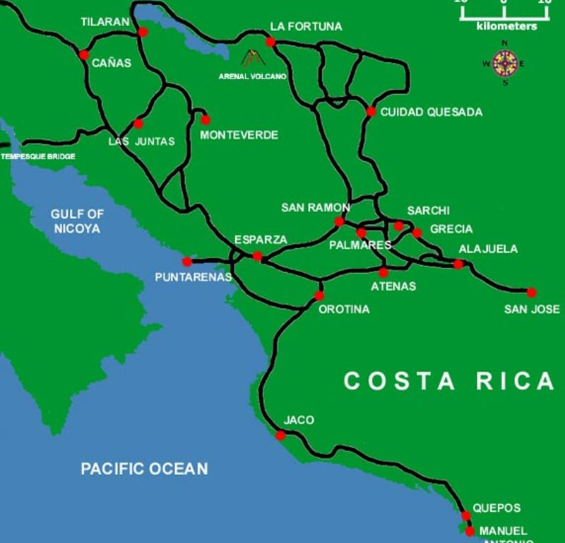 Arenal Costa Rica- Monteverde and San Jose basic road map