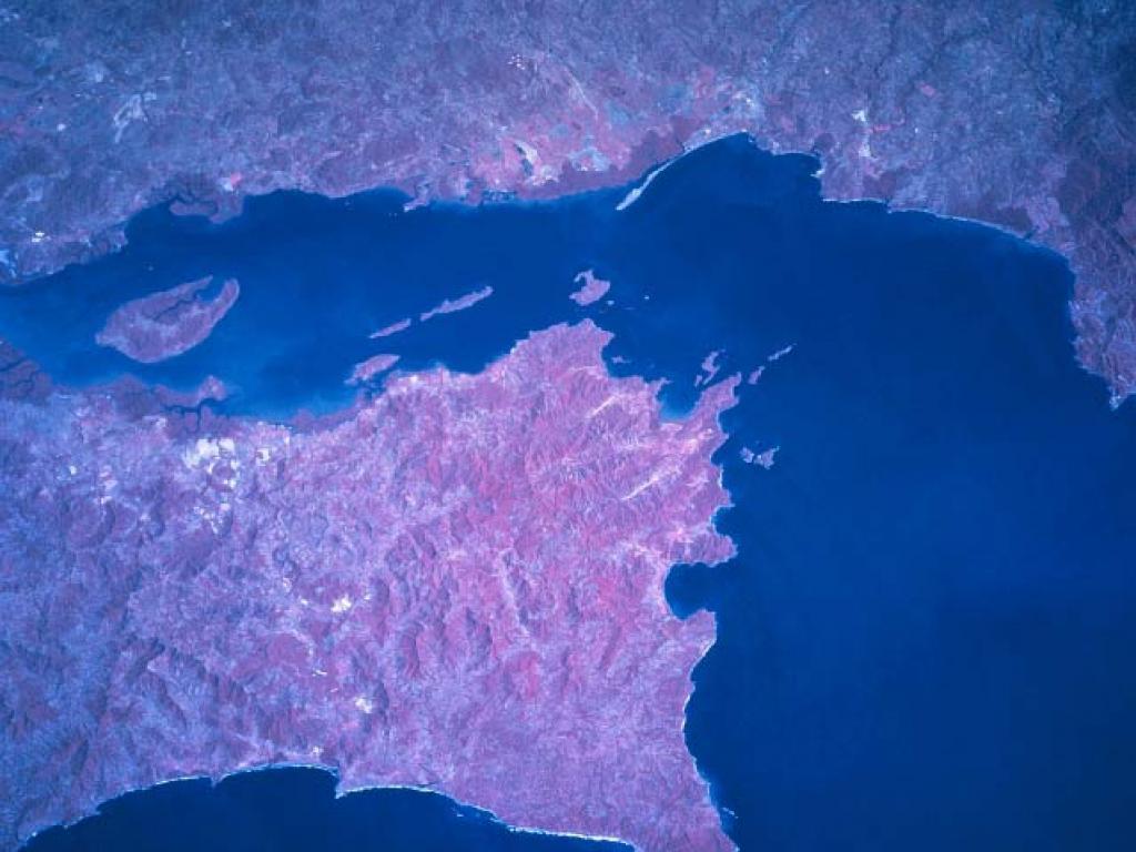 Satellite image of Puntarenas and the Nicoya Peninsula Costa Rica